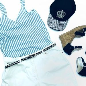 J Crew Factory White and Blue Stripe top